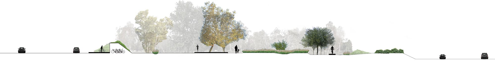 architectural rendering of a bike path system