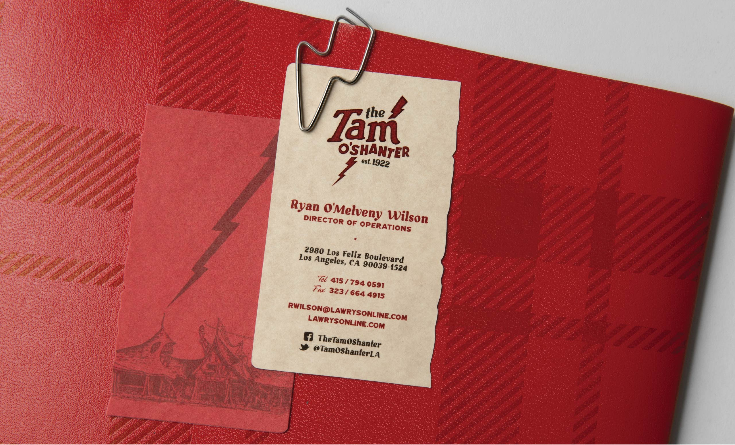 Yyes tam oshanter yyes custom elements of the brand include specially die cut business cards lightning bold paper clips for menu specials cards and brand applications including reheart Choice Image