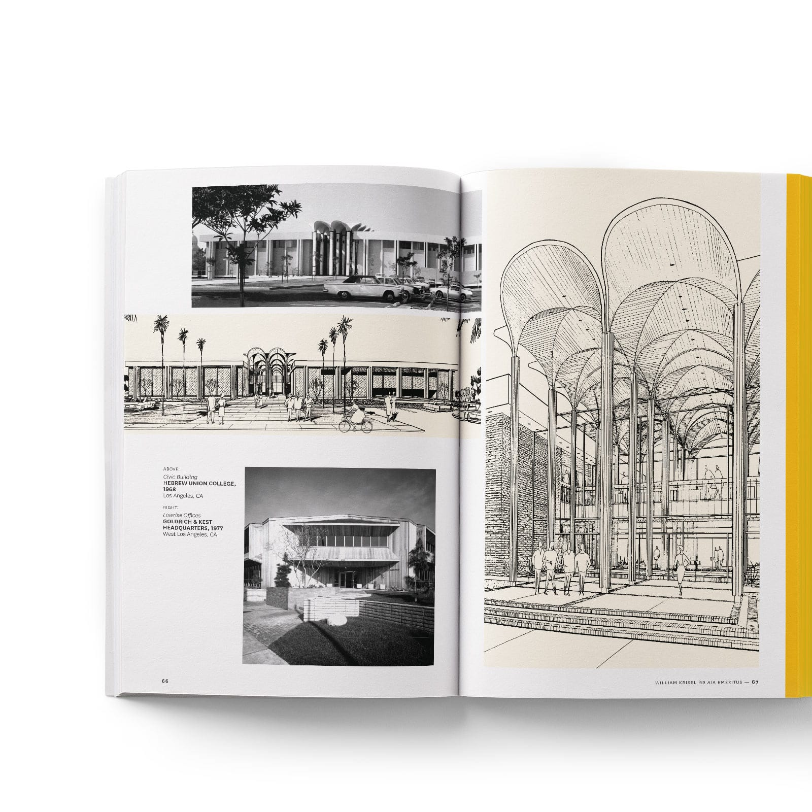 Book spread featuring black and white ink drawings of architecture