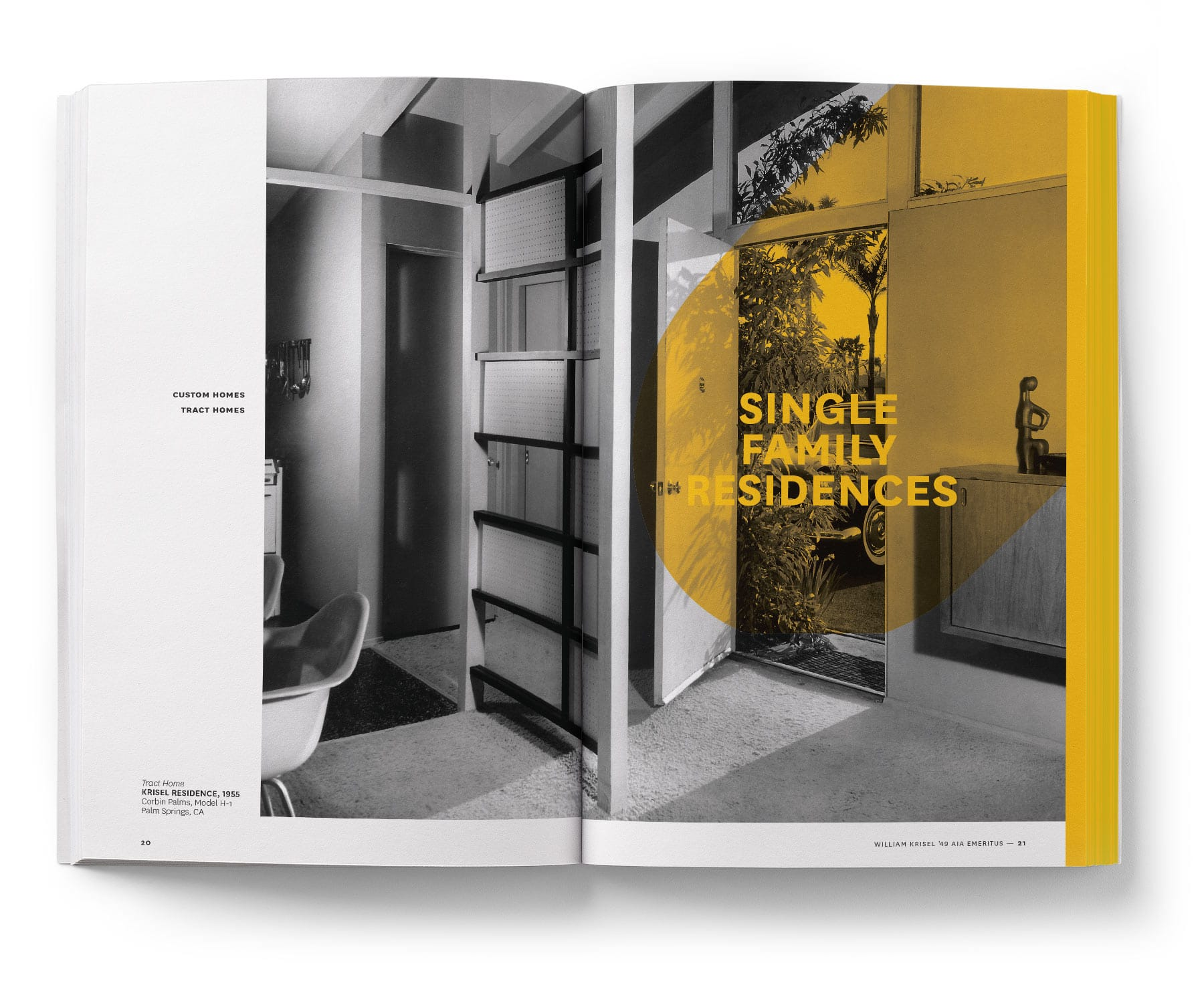 book spread showing the entry hall of a midcentury home