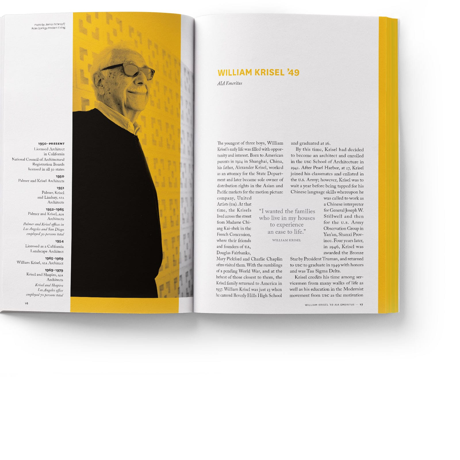 book spread with an image of modernist architect William Krisel