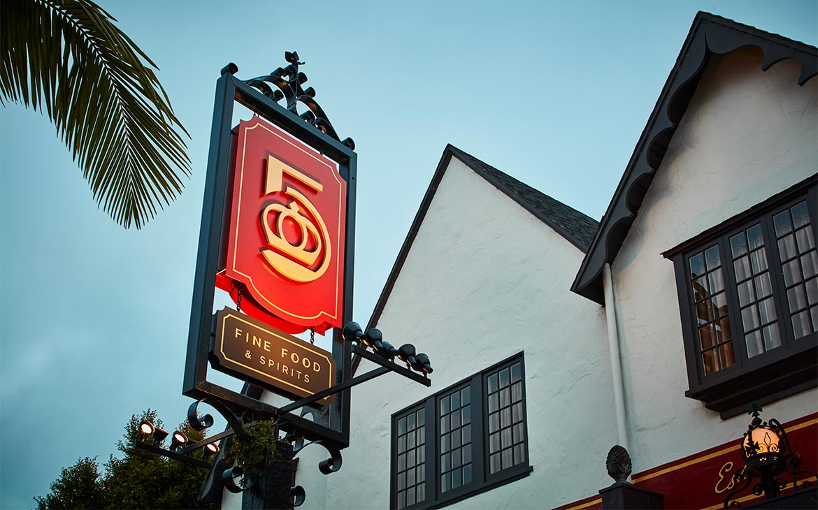 Five Crowns sign in Corona del Mar by YYES
