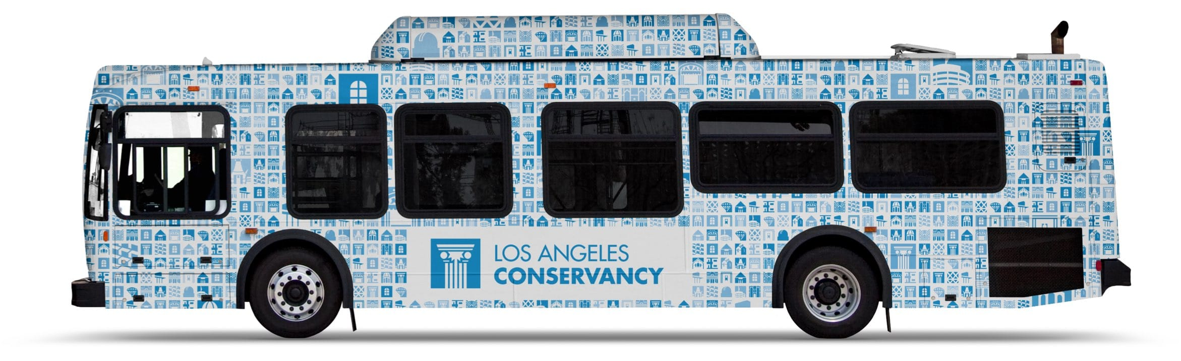 city bus wrapped with the LA Conservancy brand identity