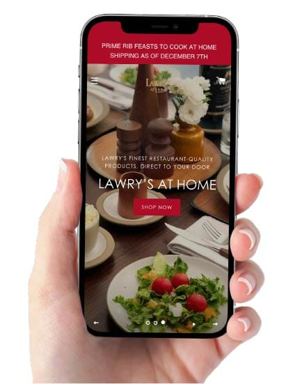 mobile phone displaying Lawry's At Home website