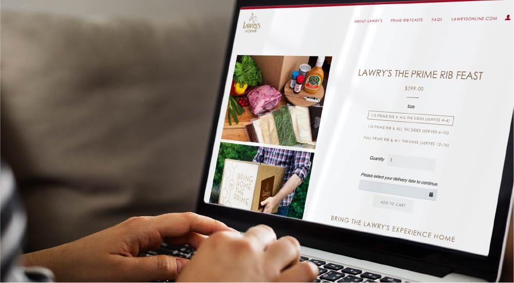 laptop displaying Lawry's At Home website