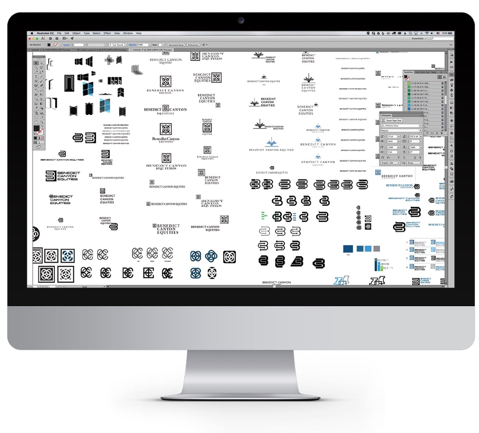 computer screen showing logo design iteration