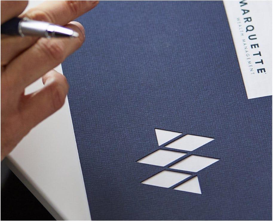 blue presentation folder