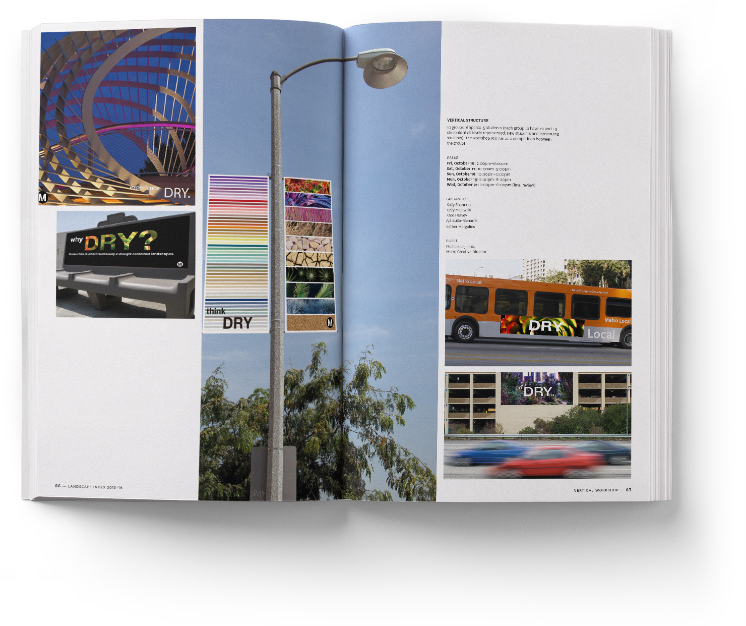 A spread from the USC Landscape Architecture + Urbanism INDEX Publication by YYES