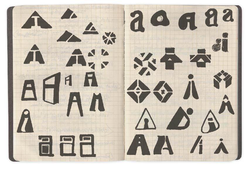 logo sketch iterations in a sketchbook